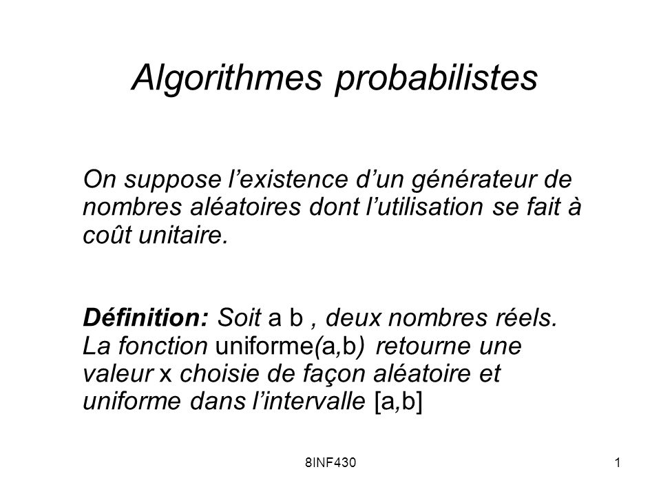 Algorithmes probabilistes