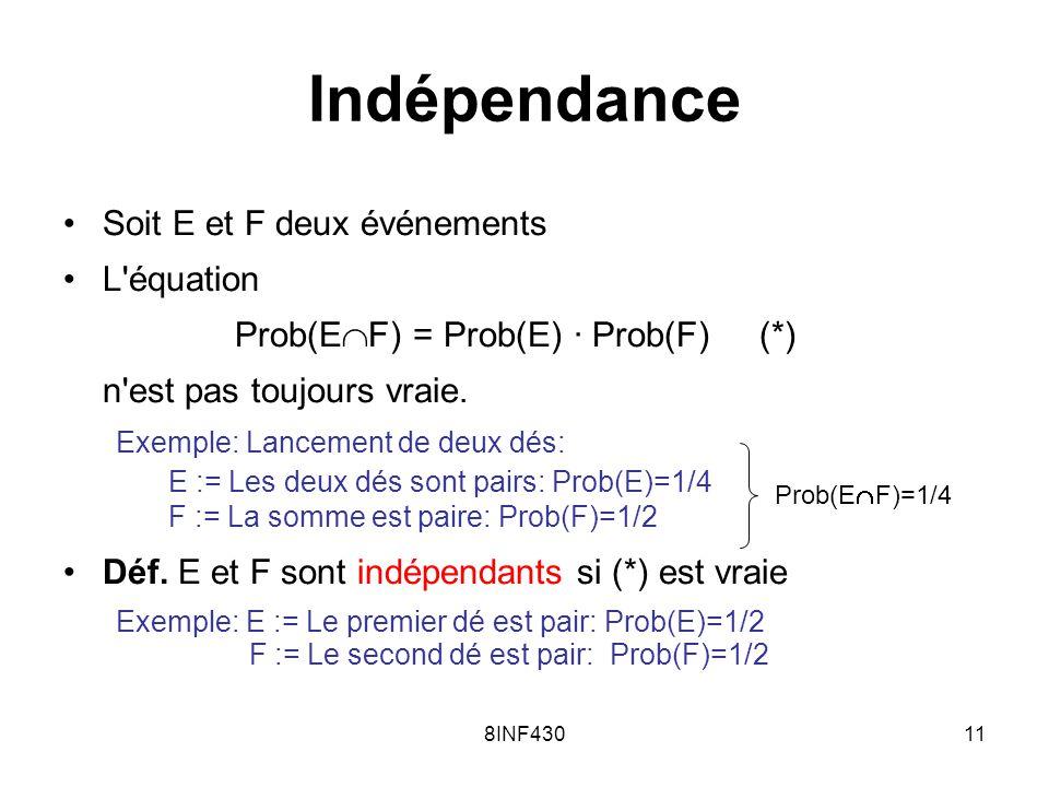Prob(EF) = Prob(E) · Prob(F) (*)