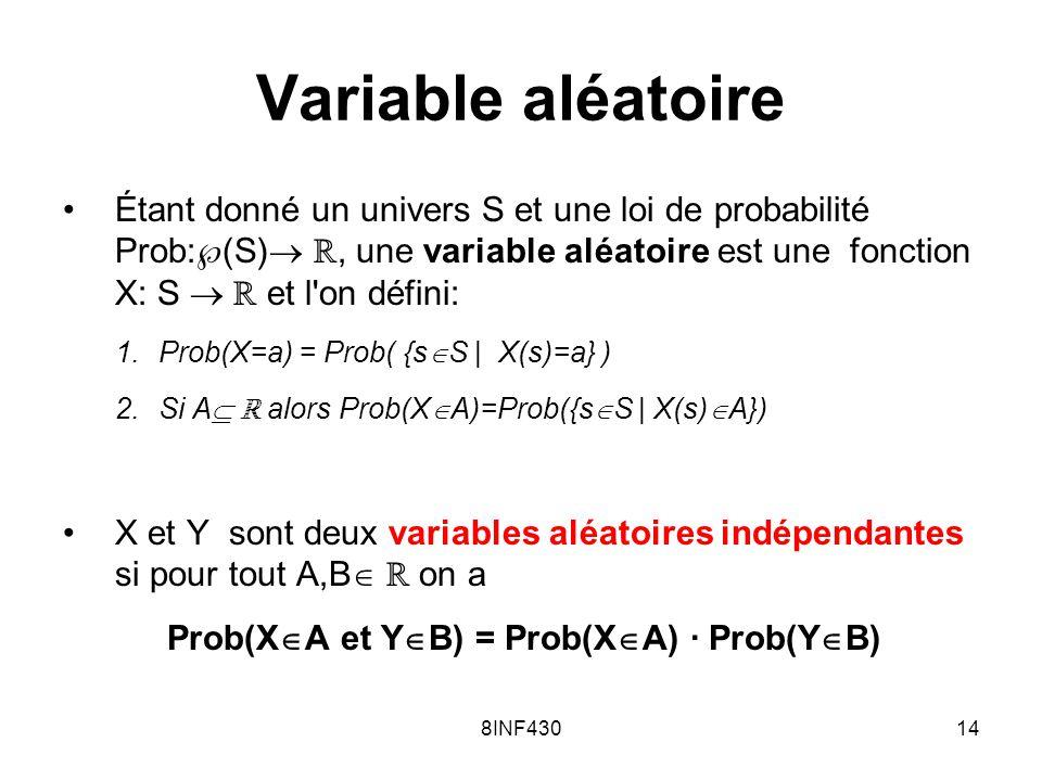 Prob(XA et YB) = Prob(XA) · Prob(YB)