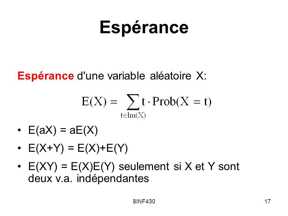 Espérance Espérance d une variable aléatoire X: E(aX) = aE(X)