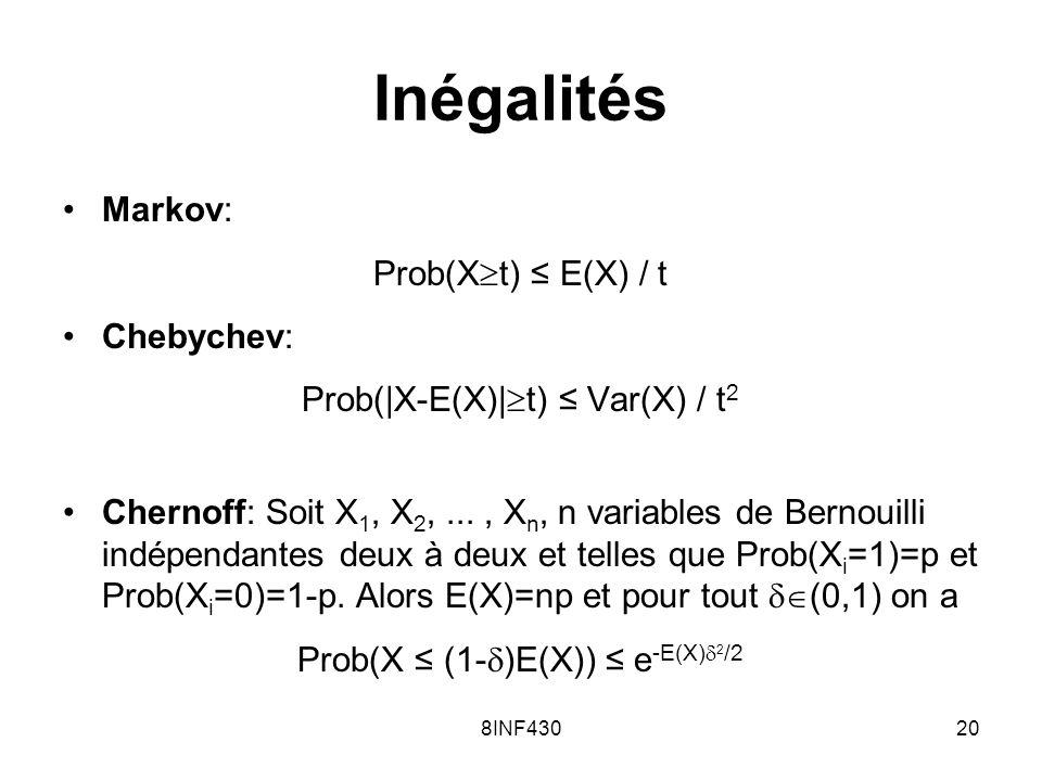 Inégalités Markov: Prob(Xt) ≤ E(X) / t Chebychev: