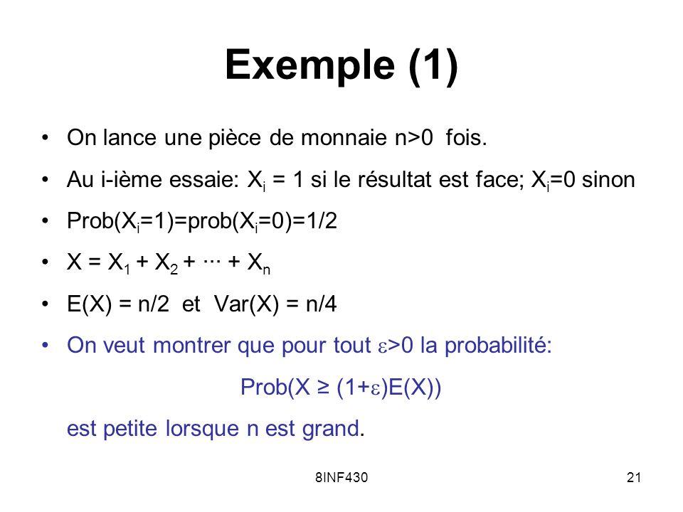Exemple (1) On lance une pièce de monnaie n>0 fois.