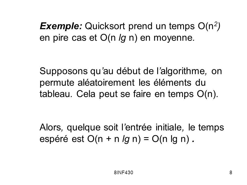 Exemple: Quicksort prend un temps O(n2) en pire cas et O(n lg n) en moyenne.