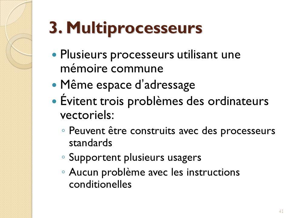 3. Multiprocesseurs Plusieurs processeurs utilisant une mémoire commune. Même espace d'adressage.