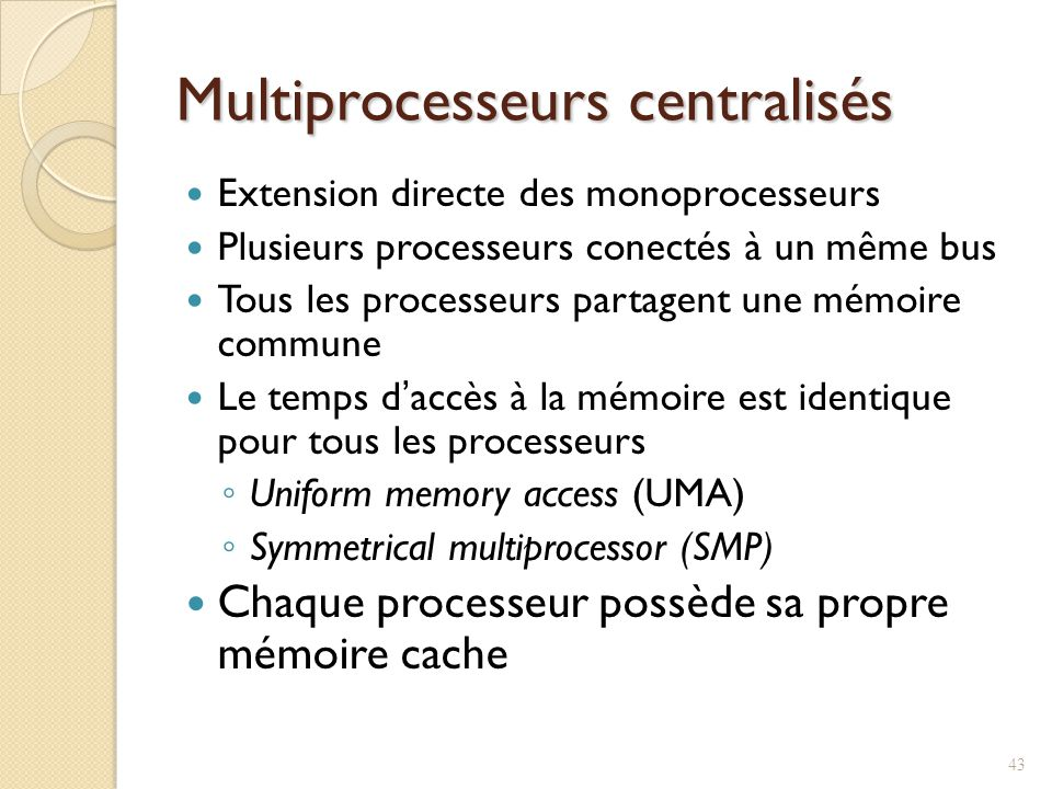 Multiprocesseurs centralisés