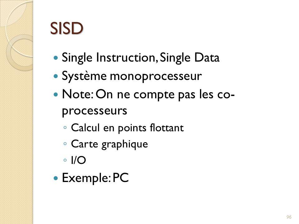 SISD Single Instruction, Single Data Système monoprocesseur