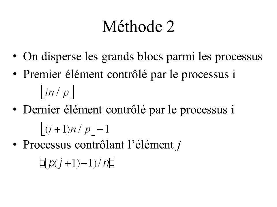 Méthode 2 On disperse les grands blocs parmi les processus