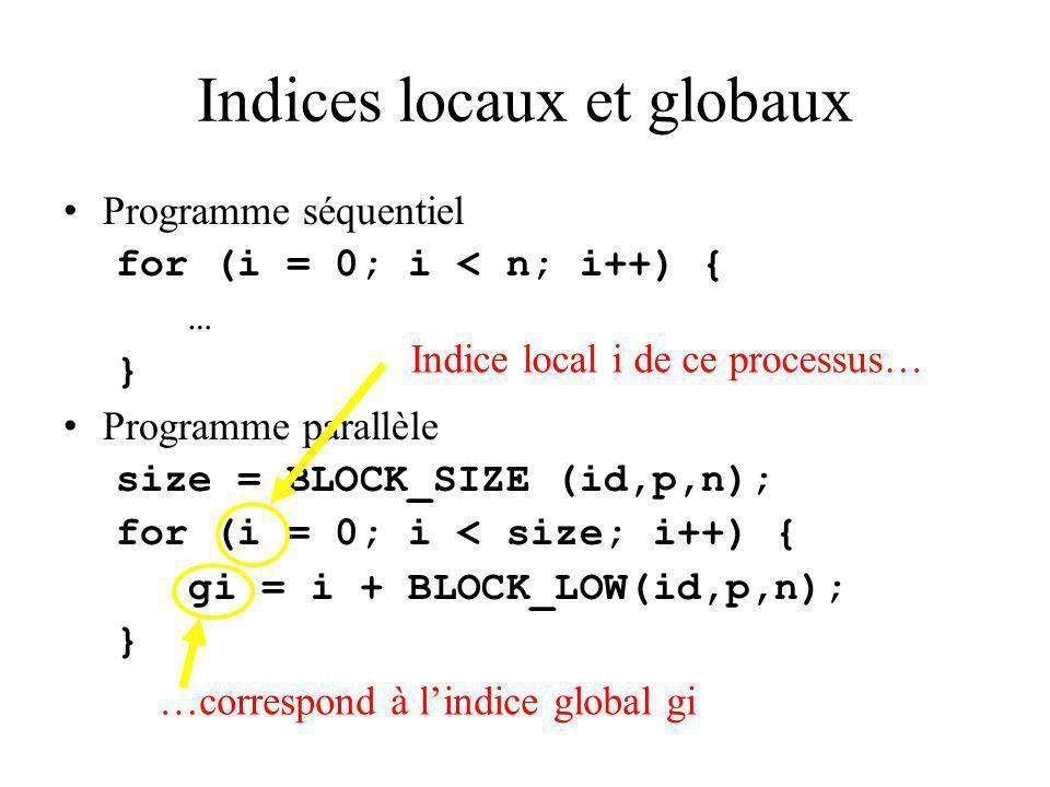 Indices locaux et globaux