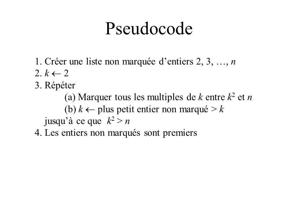 Pseudocode 1. Créer une liste non marquée d'entiers 2, 3, …, n
