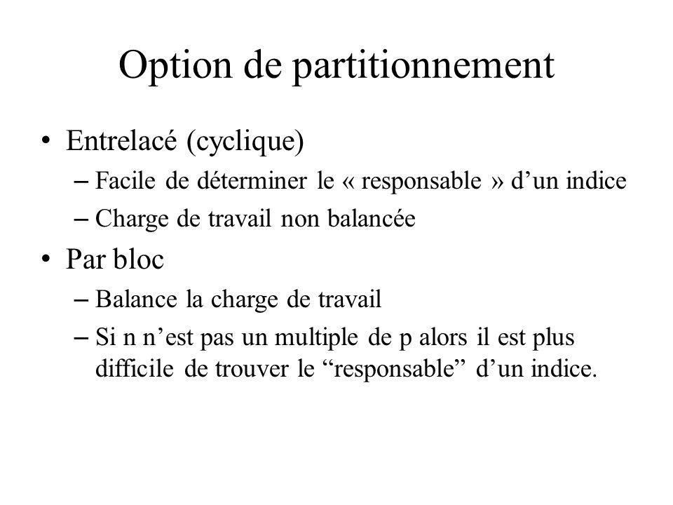 Option de partitionnement
