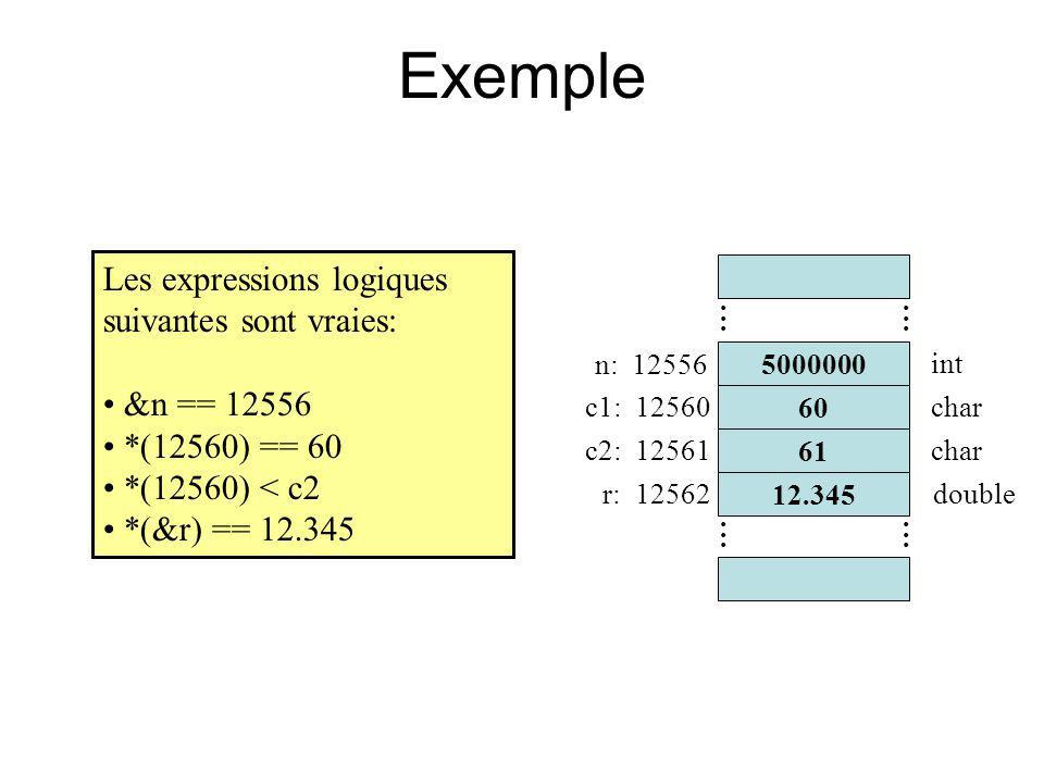 Exemple Les expressions logiques suivantes sont vraies: &n == 12556