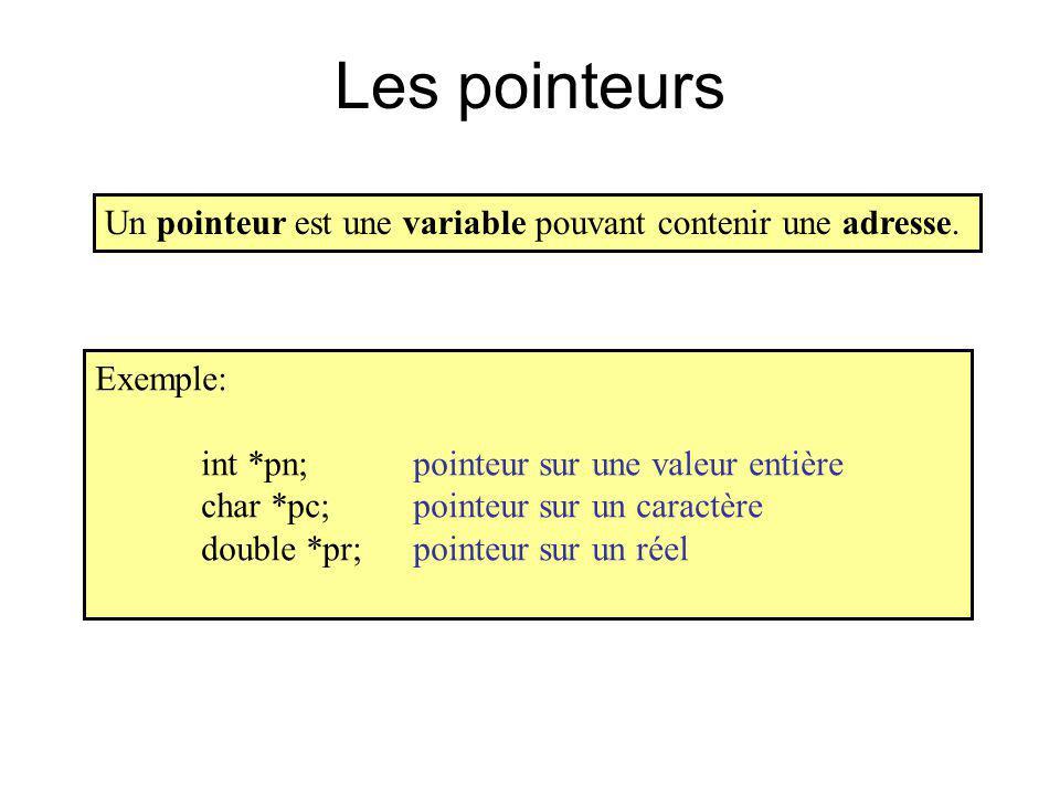 Les pointeurs Un pointeur est une variable pouvant contenir une adresse. Exemple: int *pn; pointeur sur une valeur entière.
