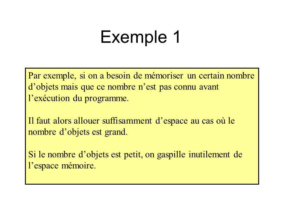 Exemple 1 Par exemple, si on a besoin de mémoriser un certain nombre d'objets mais que ce nombre n'est pas connu avant l'exécution du programme.