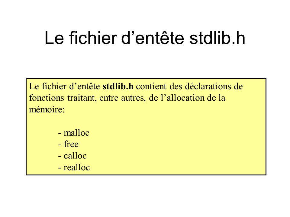 Le fichier d'entête stdlib.h