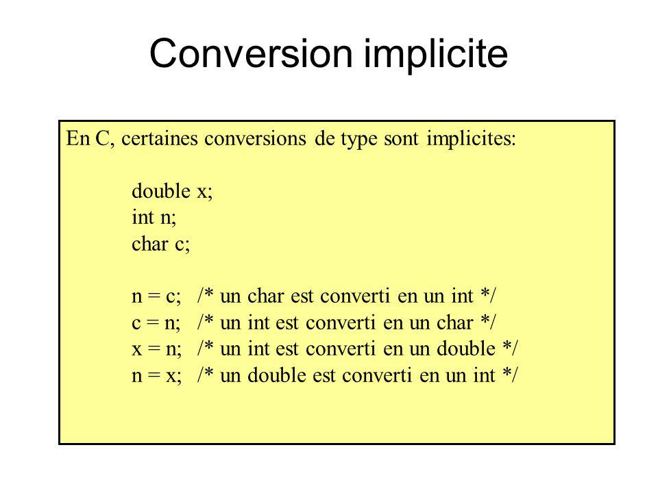 Conversion implicite En C, certaines conversions de type sont implicites: double x; int n; char c;