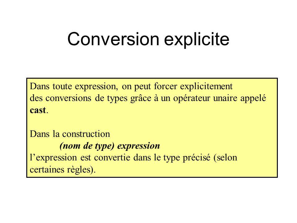 Conversion explicite Dans toute expression, on peut forcer explicitement. des conversions de types grâce à un opérateur unaire appelé cast.