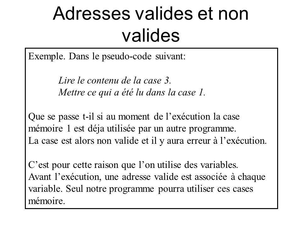 Adresses valides et non valides