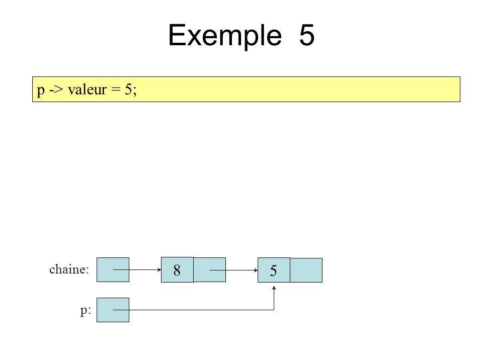 Exemple 5 p -> valeur = 5; chaine: 8 5 p: