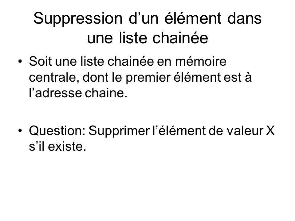 Suppression d'un élément dans une liste chainée