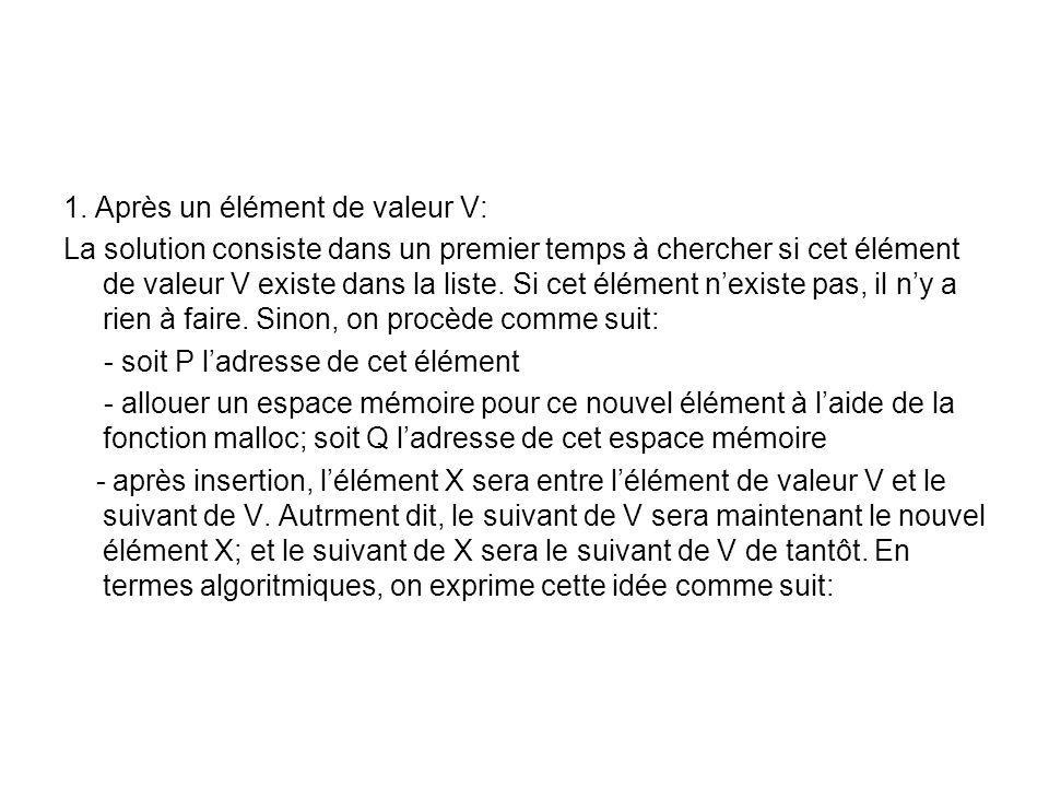 1. Après un élément de valeur V:
