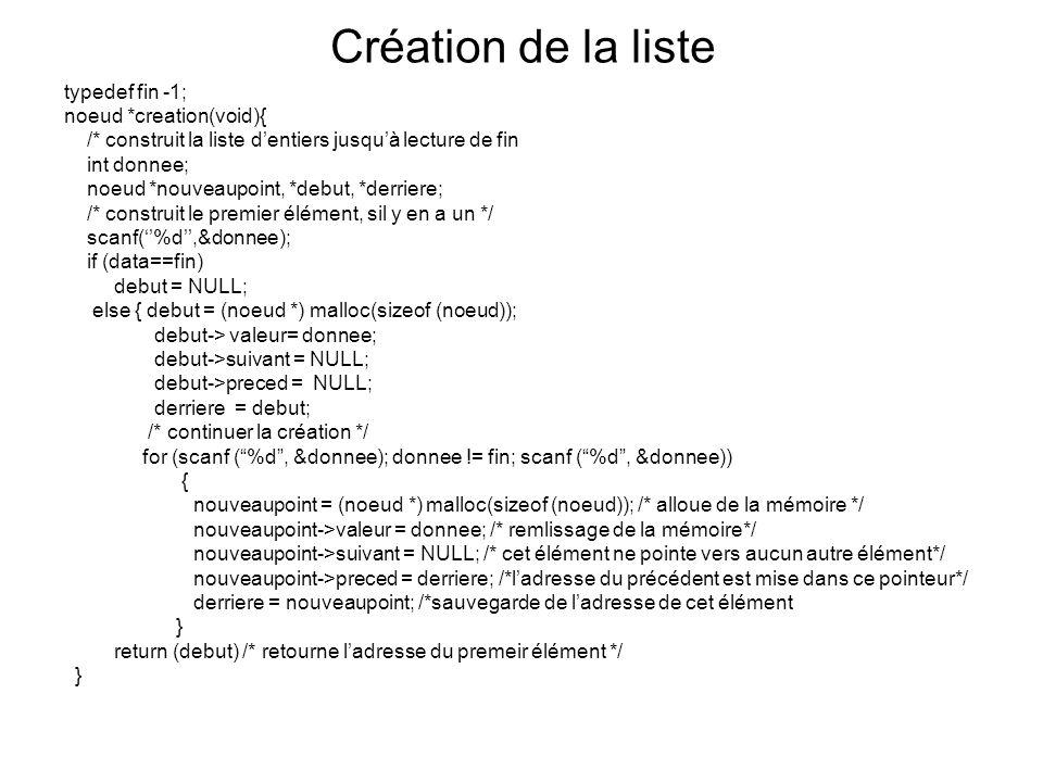 Création de la liste typedef fin -1; noeud *creation(void){