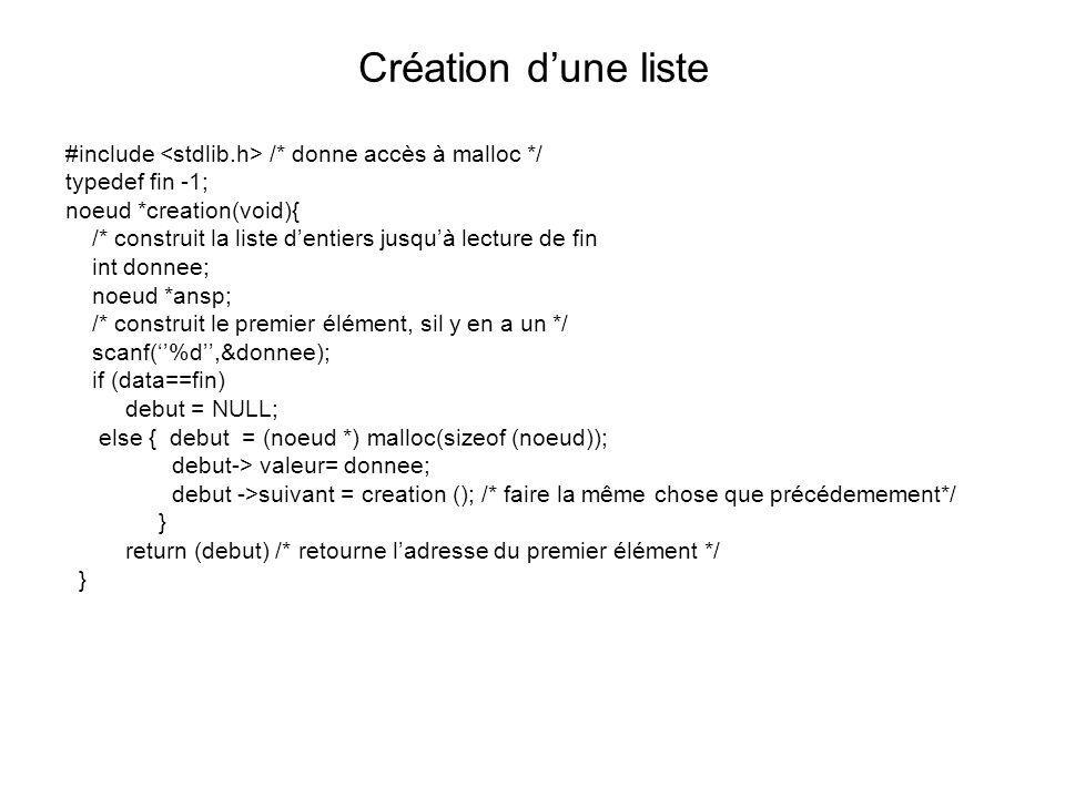Création d'une liste #include <stdlib.h> /* donne accès à malloc */ typedef fin -1; noeud *creation(void){