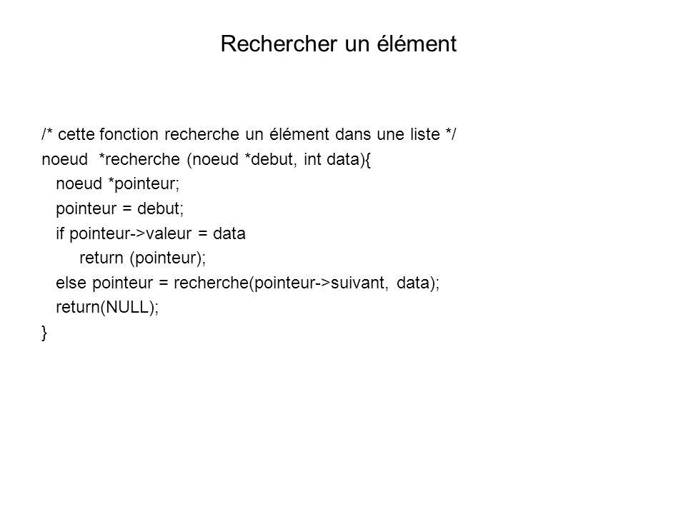 Rechercher un élément /* cette fonction recherche un élément dans une liste */ noeud *recherche (noeud *debut, int data){
