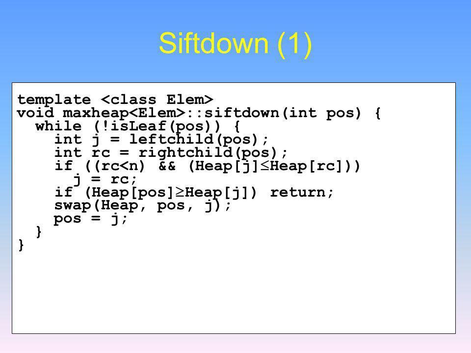 Siftdown (1) template <class Elem>