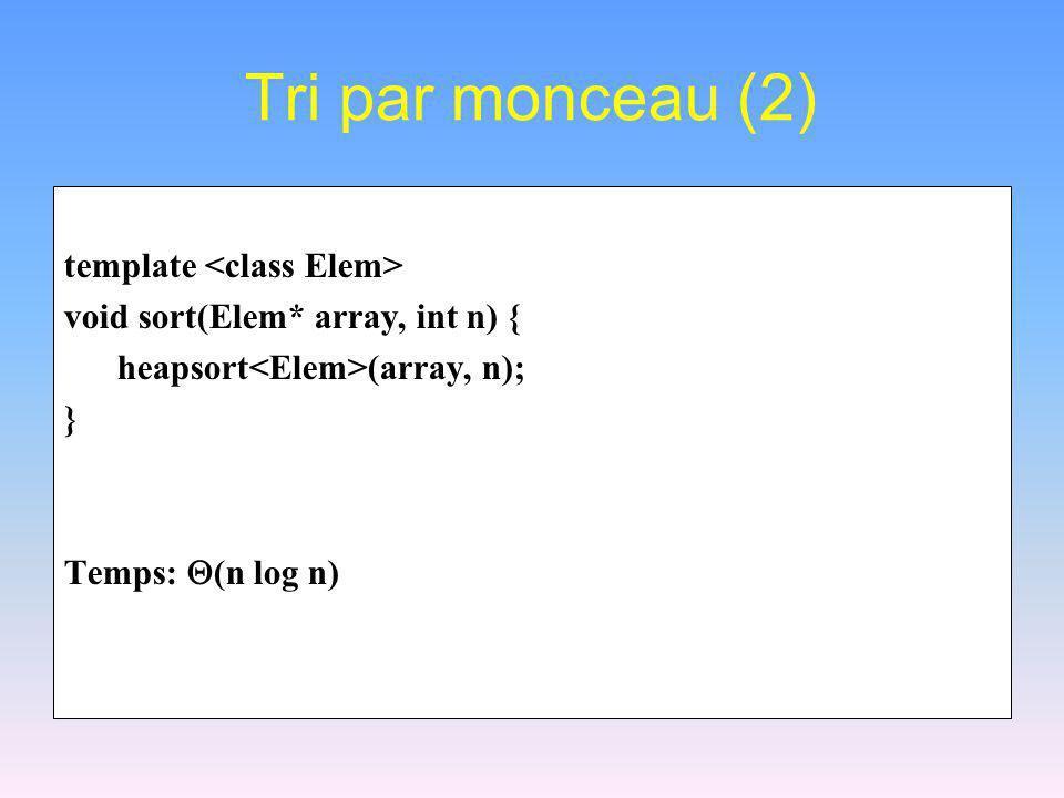 Tri par monceau (2) template <class Elem>