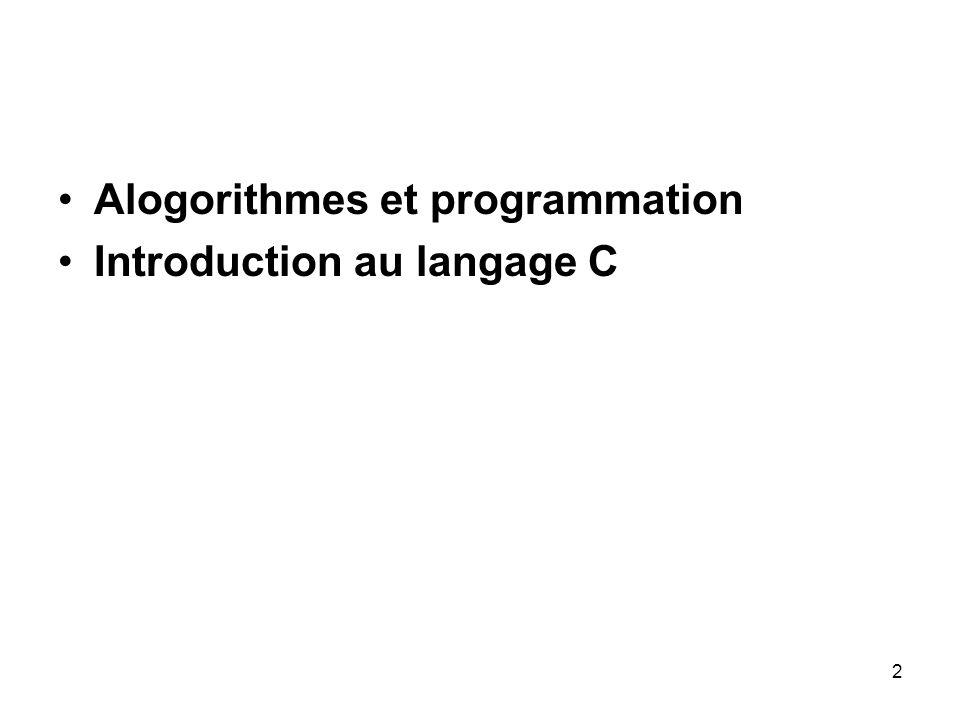 Alogorithmes et programmation