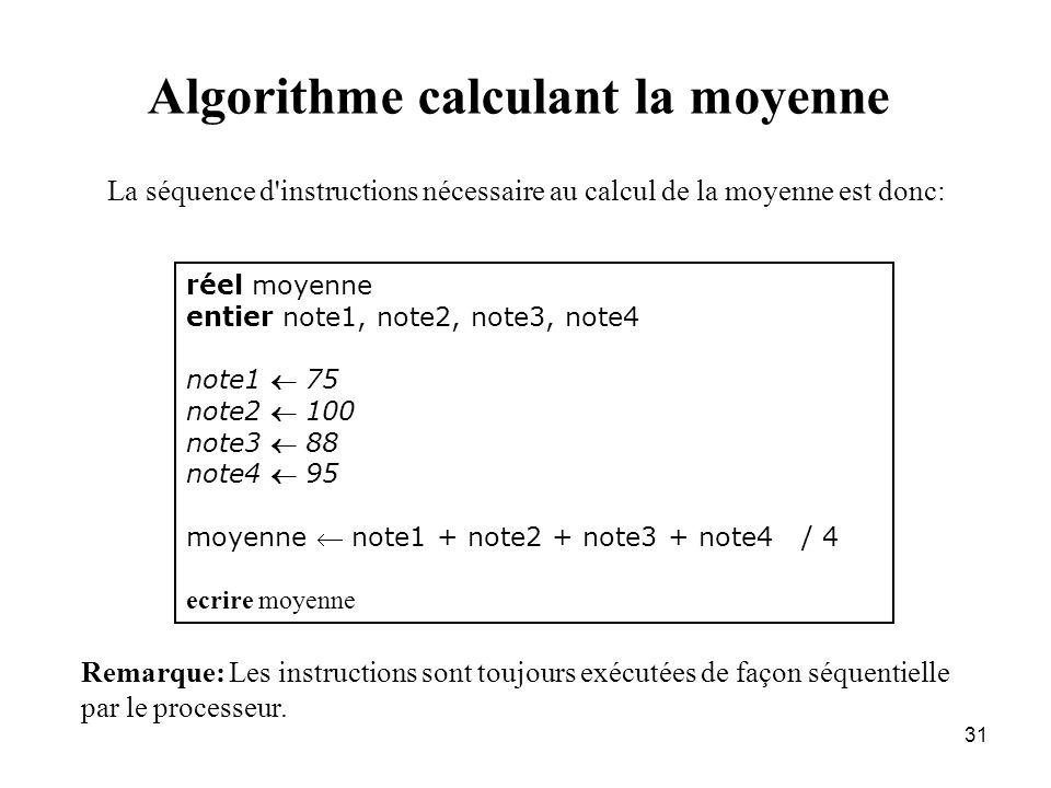 Algorithme calculant la moyenne