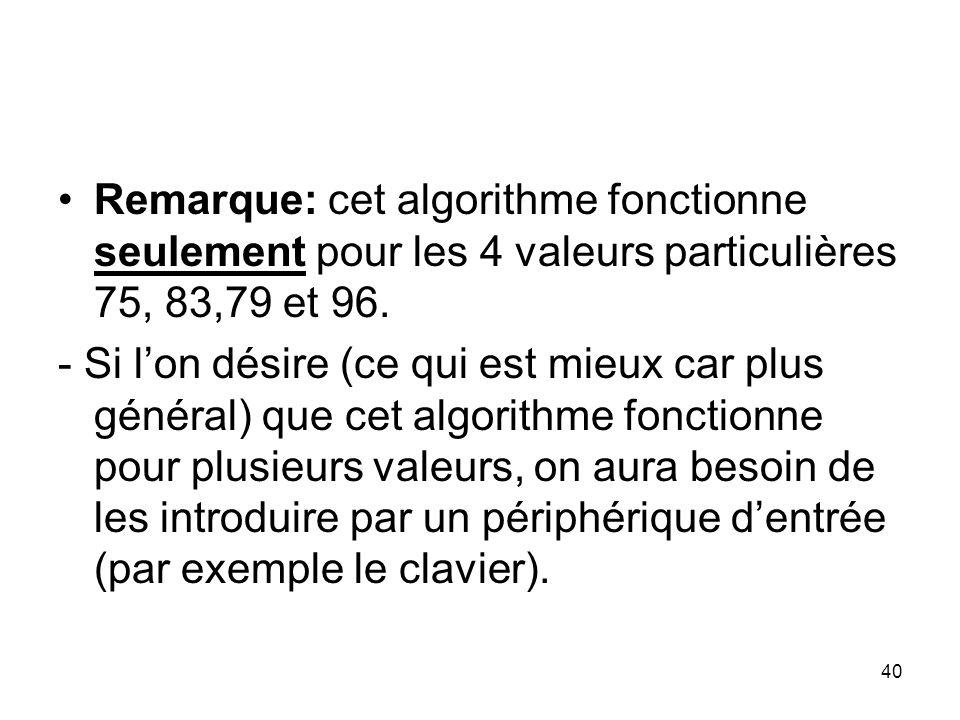 Remarque: cet algorithme fonctionne seulement pour les 4 valeurs particulières 75, 83,79 et 96.