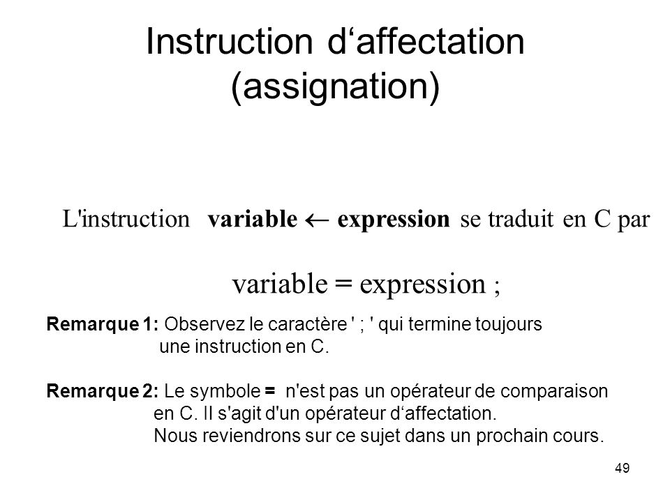Instruction d'affectation (assignation)