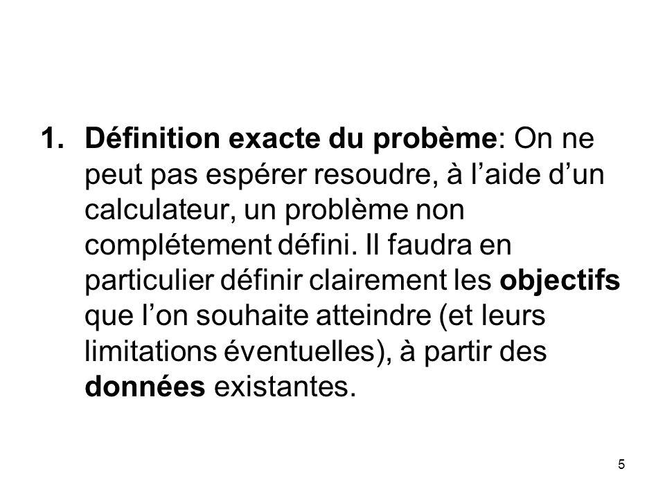 Définition exacte du probème: On ne peut pas espérer resoudre, à l'aide d'un calculateur, un problème non complétement défini.