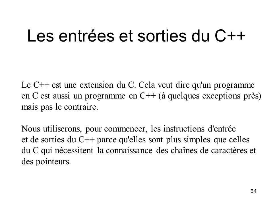 Les entrées et sorties du C++
