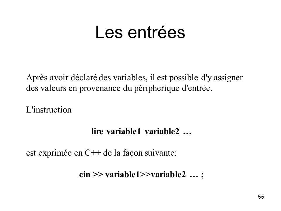 Les entrées Après avoir déclaré des variables, il est possible d y assigner des valeurs en provenance du péripherique d entrée.