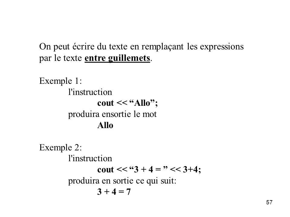 On peut écrire du texte en remplaçant les expressions