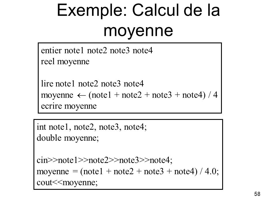 Exemple: Calcul de la moyenne