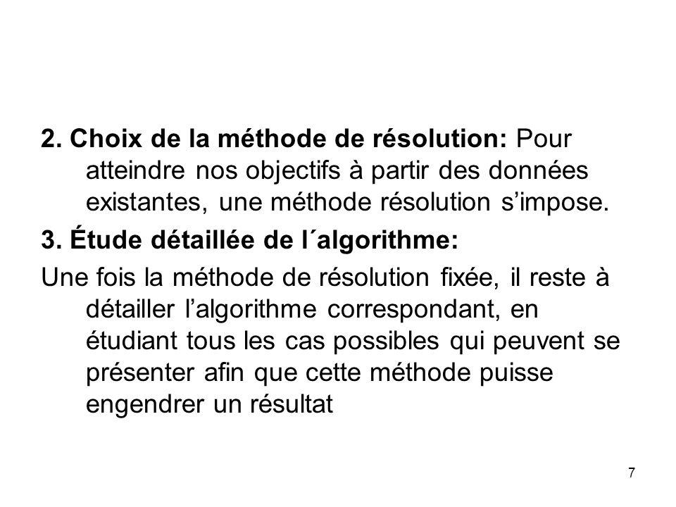 2. Choix de la méthode de résolution: Pour atteindre nos objectifs à partir des données existantes, une méthode résolution s'impose.