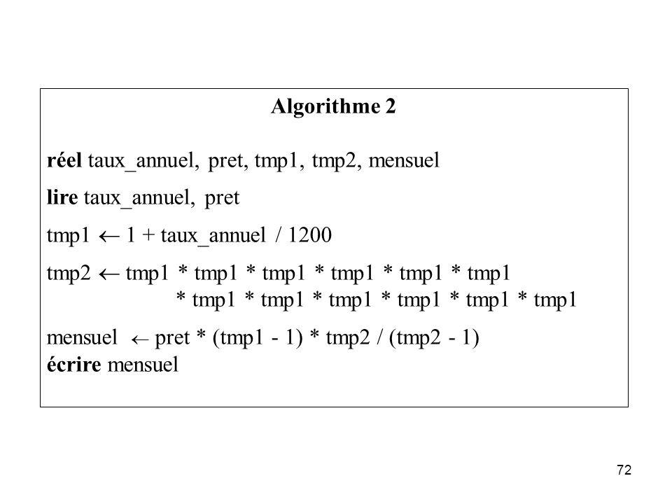 Algorithme 2 réel taux_annuel, pret, tmp1, tmp2, mensuel. lire taux_annuel, pret. tmp1 ¬ 1 + taux_annuel / 1200.