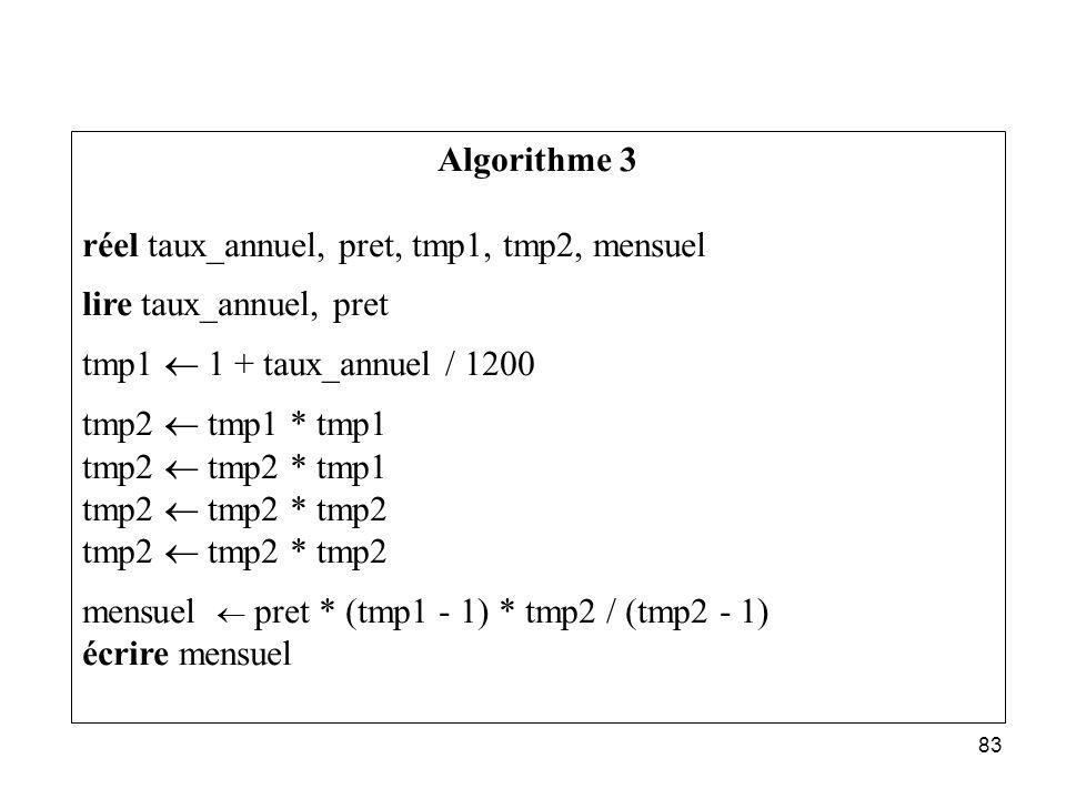 Algorithme 3 réel taux_annuel, pret, tmp1, tmp2, mensuel. lire taux_annuel, pret. tmp1 ¬ 1 + taux_annuel / 1200.