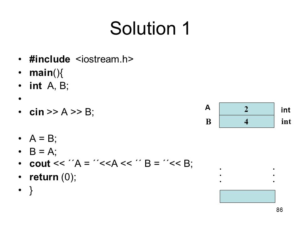 Solution 1 #include <iostream.h> main(){ int A, B;