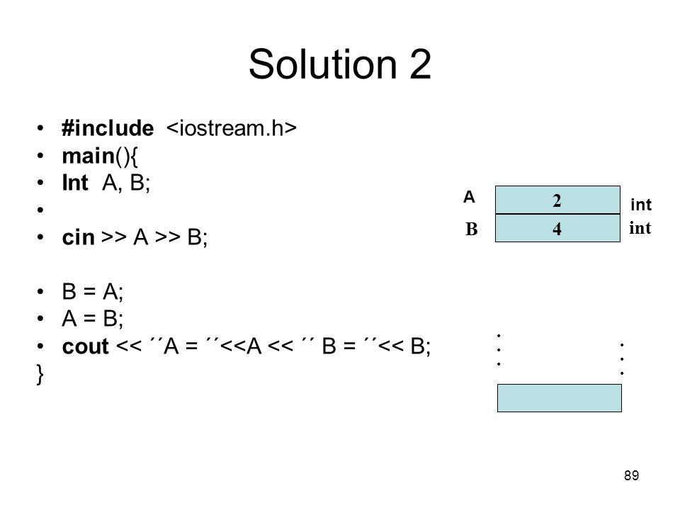 Solution 2 #include <iostream.h> main(){ Int A, B;