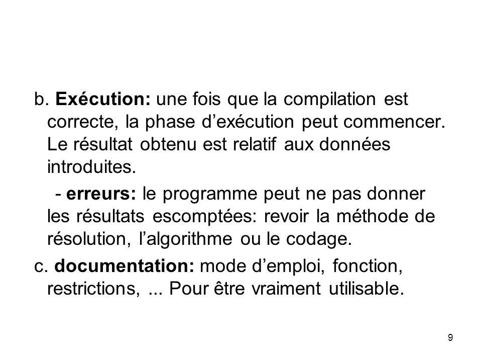 b. Exécution: une fois que la compilation est correcte, la phase d'exécution peut commencer. Le résultat obtenu est relatif aux données introduites.