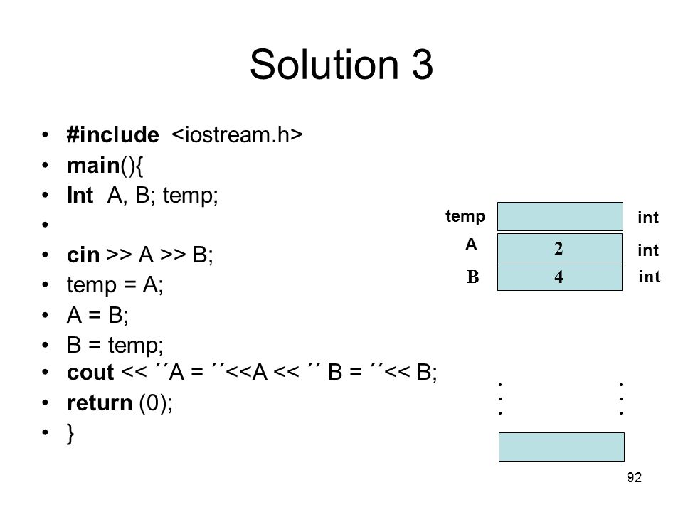 Solution 3 #include <iostream.h> main(){ Int A, B; temp;