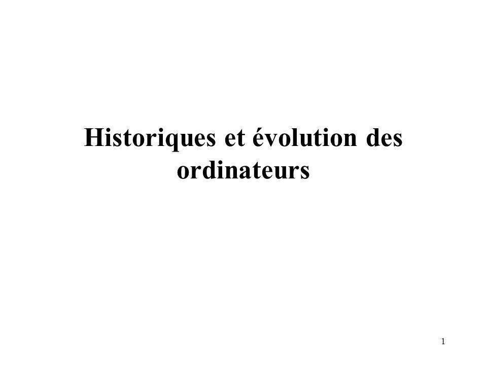 Historiques et évolution des ordinateurs