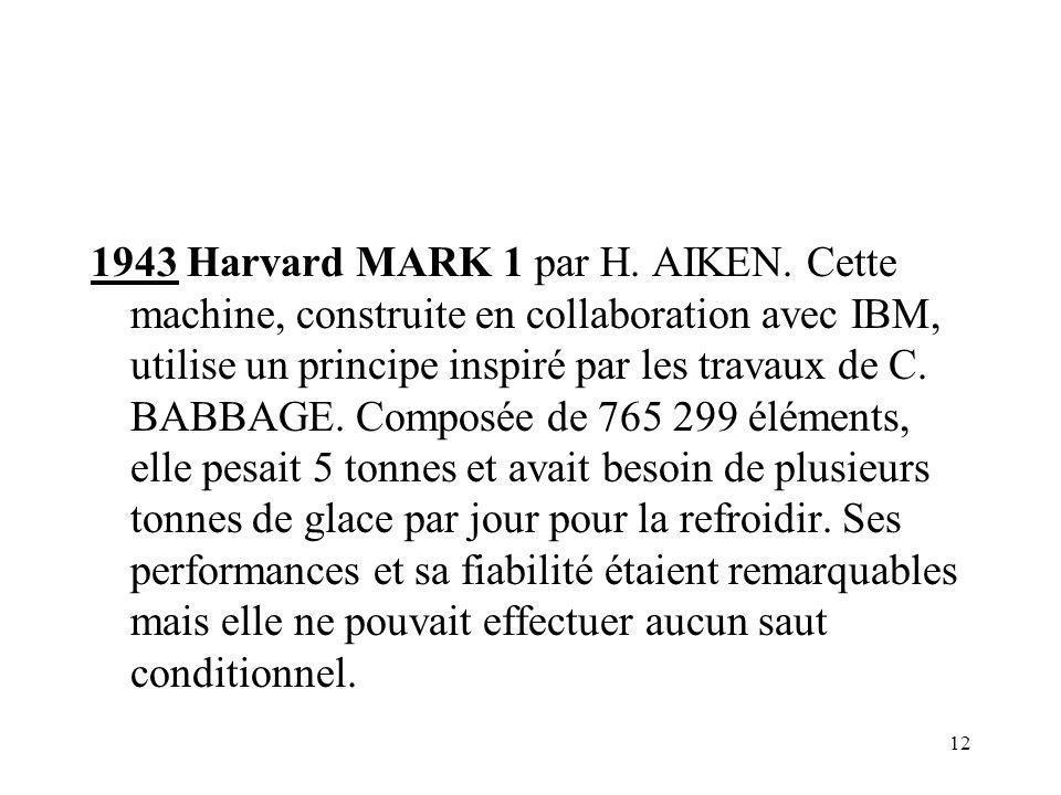 1943 Harvard MARK 1 par H. AIKEN