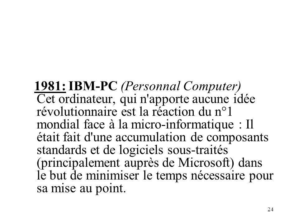 1981: IBM-PC (Personnal Computer) Cet ordinateur, qui n apporte aucune idée révolutionnaire est la réaction du n°1 mondial face à la micro-informatique : Il était fait d une accumulation de composants standards et de logiciels sous-traités (principalement auprès de Microsoft) dans le but de minimiser le temps nécessaire pour sa mise au point.