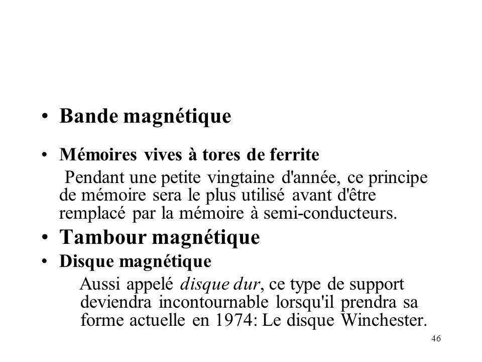 Bande magnétique Tambour magnétique Mémoires vives à tores de ferrite