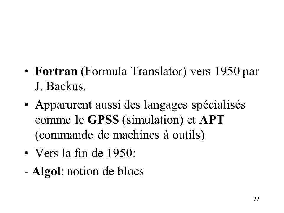 Fortran (Formula Translator) vers 1950 par J. Backus.